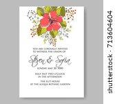 hibiscus wedding invitation... | Shutterstock .eps vector #713604604