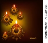 happy diwali background with... | Shutterstock .eps vector #713605951