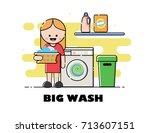 vector laundry washing...   Shutterstock .eps vector #713607151