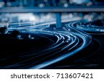 the light trails on the street... | Shutterstock . vector #713607421