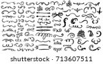 hand drawn set of design... | Shutterstock .eps vector #713607511
