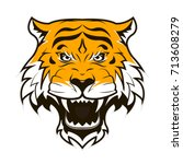 angry tiger face. roaring tiger ... | Shutterstock . vector #713608279