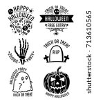 happy halloween logo with... | Shutterstock . vector #713610565