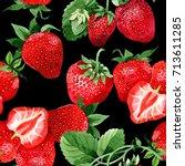 strawberry healthy food pattern ...   Shutterstock . vector #713611285