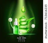 aloe vera serum and collagen... | Shutterstock .eps vector #713616235