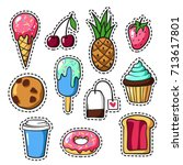 set of cute colorful patch...   Shutterstock .eps vector #713617801