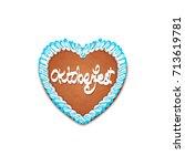 oktoberfest cake in heart shape ... | Shutterstock .eps vector #713619781