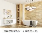 side view of a white and wooden ... | Shutterstock . vector #713621341