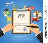 insurance services concept with ... | Shutterstock .eps vector #713621671