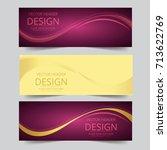 set banner   wave purple golden ... | Shutterstock .eps vector #713622769