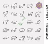 animals line icons set | Shutterstock .eps vector #713623525