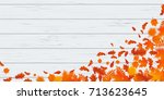 autumn leaf fall or autumnal... | Shutterstock .eps vector #713623645