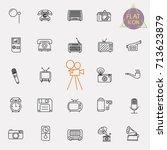 vintage retro line icon set | Shutterstock .eps vector #713623879
