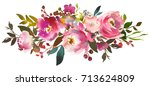 pink peach watercolor floral... | Shutterstock . vector #713624809
