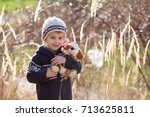 cute little caucasian child ... | Shutterstock . vector #713625811