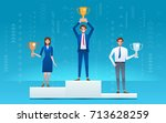 three businessman standing on... | Shutterstock .eps vector #713628259