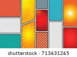 comics template. vector comic... | Shutterstock .eps vector #713631265