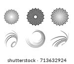 halftone dots in circle form.... | Shutterstock .eps vector #713632924