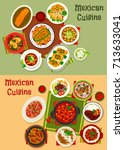 mexican cuisine dinner dishes... | Shutterstock .eps vector #713633041