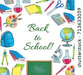 back to school poster with... | Shutterstock .eps vector #713633059