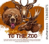 zoo banner with animal sketches.... | Shutterstock .eps vector #713633071