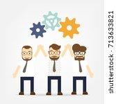 business men hand hold gears ... | Shutterstock .eps vector #713633821