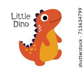 little cute dinosaur | Shutterstock .eps vector #713634799