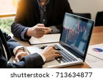 finance trade manager showing... | Shutterstock . vector #713634877