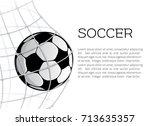 soccer ball in the net of... | Shutterstock .eps vector #713635357