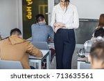 pretty elegant caucasian woman... | Shutterstock . vector #713635561