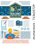 building construction banner or ... | Shutterstock .eps vector #713635729