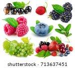 set fresh berries healthy food... | Shutterstock . vector #713637451
