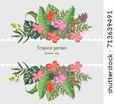 tropic leaves banner template... | Shutterstock .eps vector #713639491
