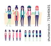 fashion girls vector set 3.... | Shutterstock .eps vector #713640631