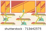 flat colorful gym 09 | Shutterstock .eps vector #713642575