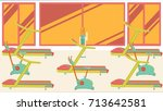 flat colorful gym | Shutterstock . vector #713642581