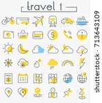 travel  tourism and weather... | Shutterstock .eps vector #713643109