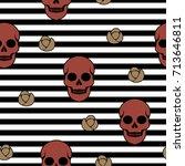 skull and roses. vector... | Shutterstock .eps vector #713646811