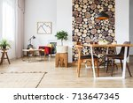 dining table and rustic brown... | Shutterstock . vector #713647345