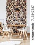 wooden design details in warm... | Shutterstock . vector #713647387