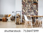 open dining room interior with... | Shutterstock . vector #713647399