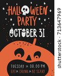 halloween night party with... | Shutterstock .eps vector #713647969