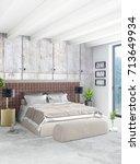 vertical bedroom minimal or... | Shutterstock . vector #713649934