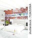 vertical bedroom minimal or... | Shutterstock . vector #713652064