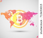 bitcoin with global spread... | Shutterstock .eps vector #713653015