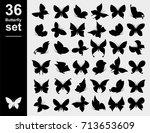 butterflies set. vector | Shutterstock .eps vector #713653609