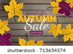 autumn sale banner template... | Shutterstock .eps vector #713654374