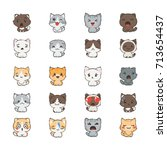 Stock vector cute cartoon cats and dogs with different emotions sticker collection vector set of doodle emoji 713654437