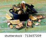arrangement of fresh boiled... | Shutterstock . vector #713657209