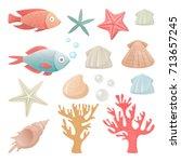 vector illustrations set of sea ... | Shutterstock .eps vector #713657245